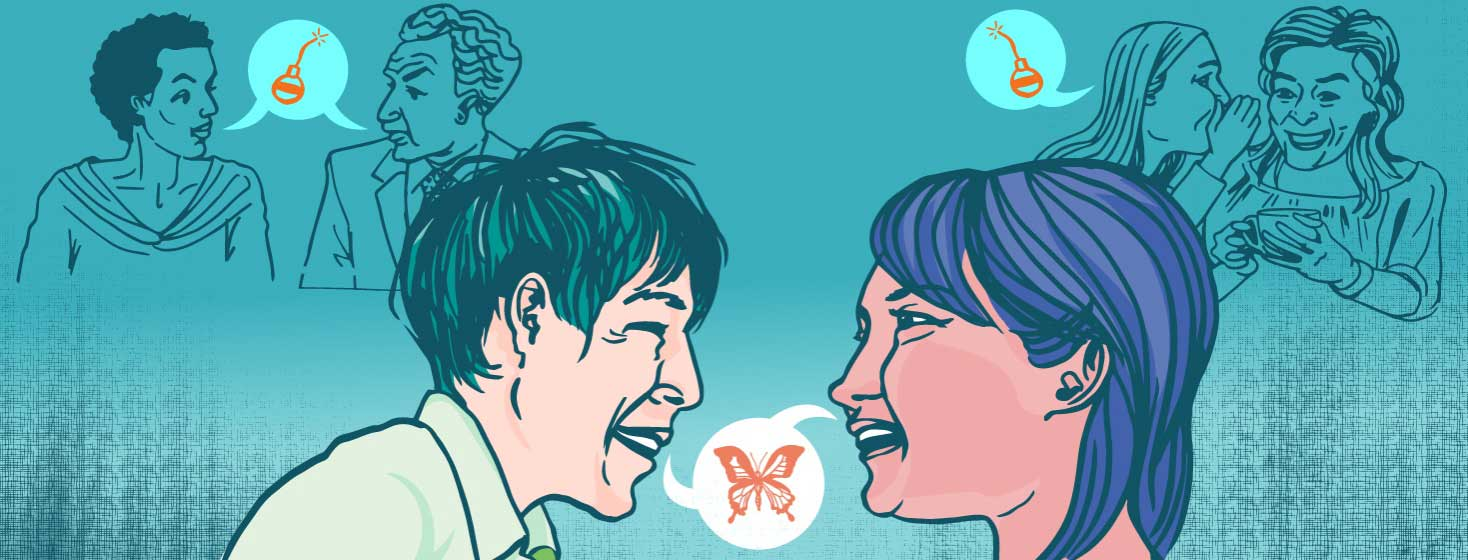 a man and woman talk about HIV, a speech bubble has a butterfly in it. Two groups of people talk behind them, with speech bubbles have bombs in them.