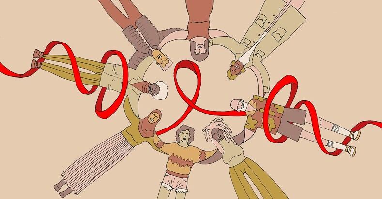 a circle of friends wrapped in the HIV ribbon