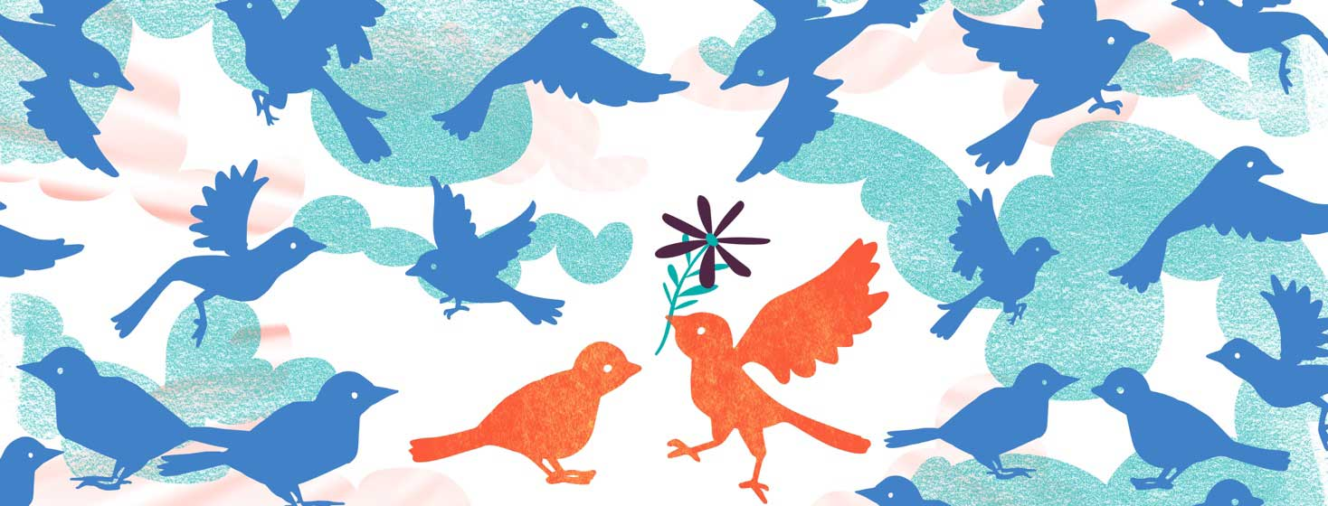 a little bird gives another bird a flower