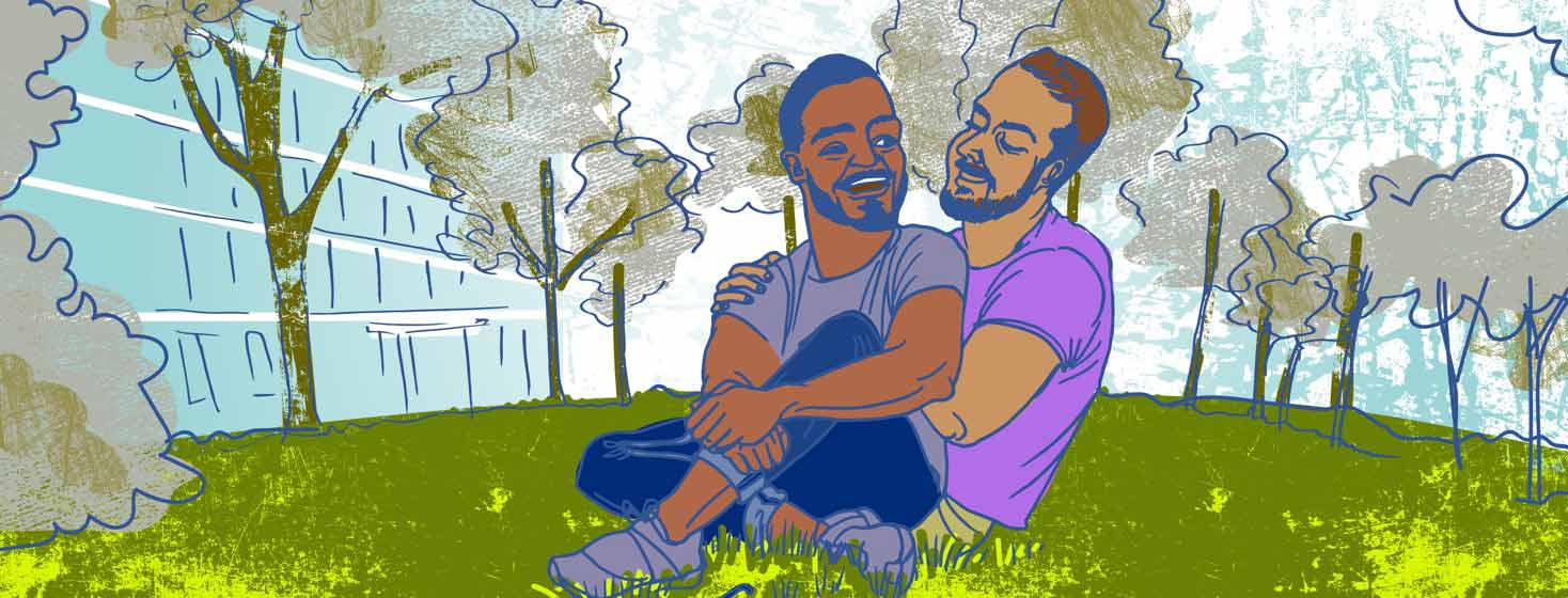 a gay male mixed HIV status couple hugs in a city park