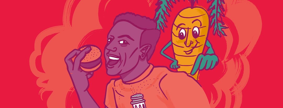 a man with HIV is about to bite into a juicy burger when a friendly carrot taps him on the shoulder