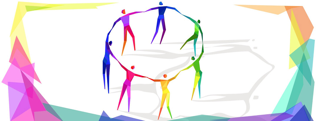 A rainbow of women holding hands in a circle