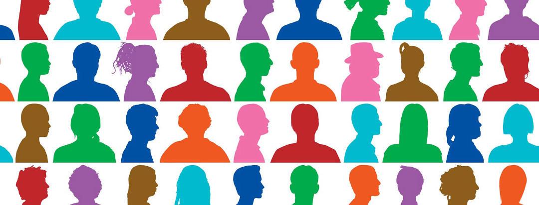 multicolored profiles of many people