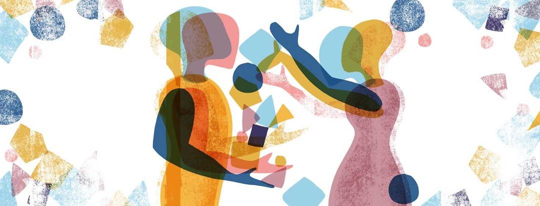 A woman dumps a pile of shapes into a man's hands