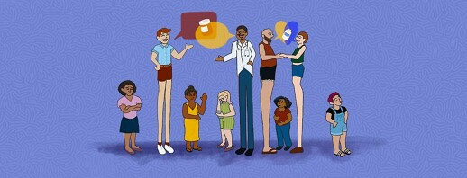 Men-loving men and a male doctor talk to each other over the heads of women.