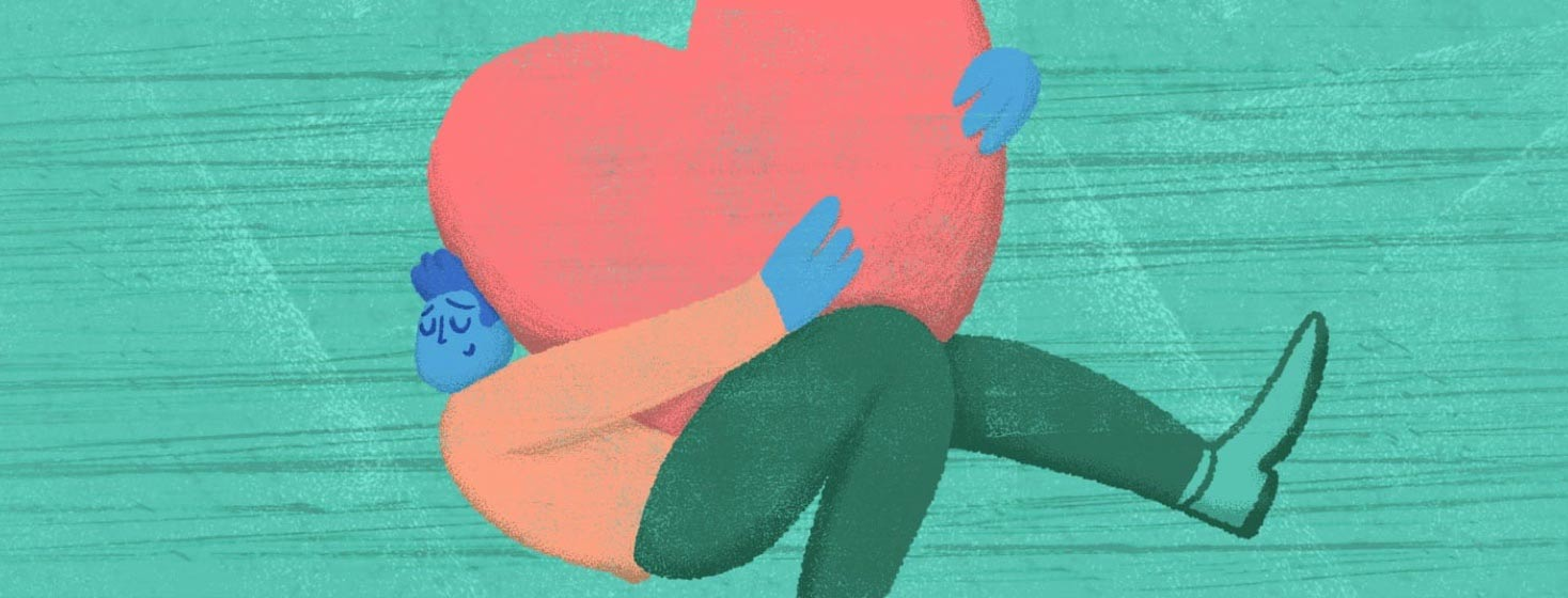 An adult male embracing/hugging a comically large heart floating in space.