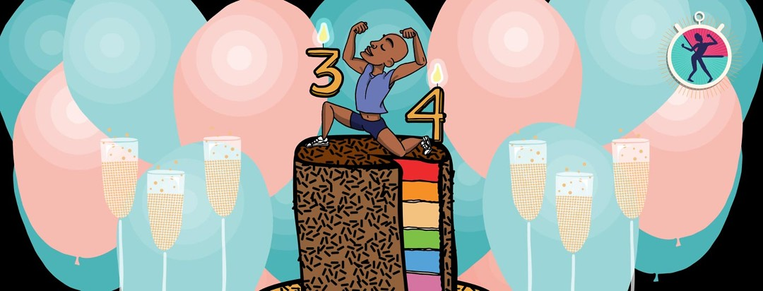 Illustration of HIV community advocate Jahlove making a muscular pose while standing on a rainbow cake with 34 candles
