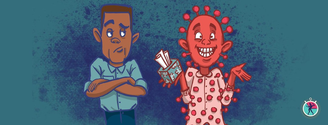 a man with HIV with his arms crossed looks angrily at a covid-19 virus personified as a grinning apologetic red man holding a box of tissues