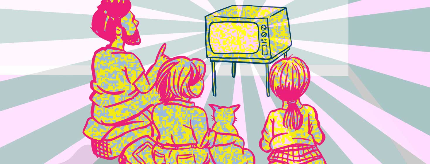 three people sit and watch a TV that is radiating waves of digital pattern
