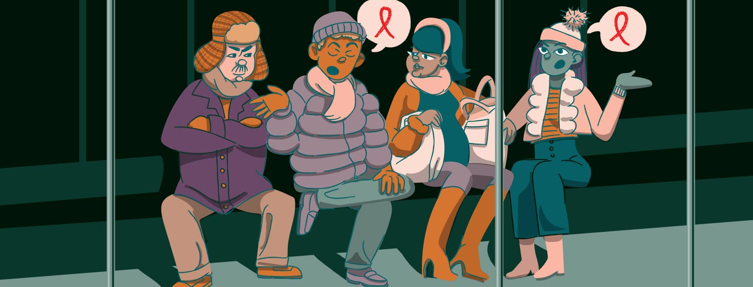 a man telling a crowd on a subway about HIV and starting a conversation