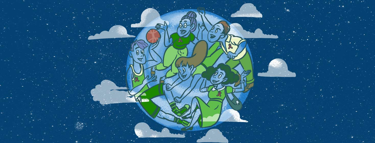 a globe floating in space with people as the continents