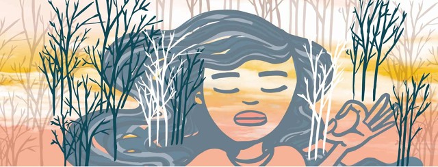 a woman meditating with trees and a river flowing through her hair