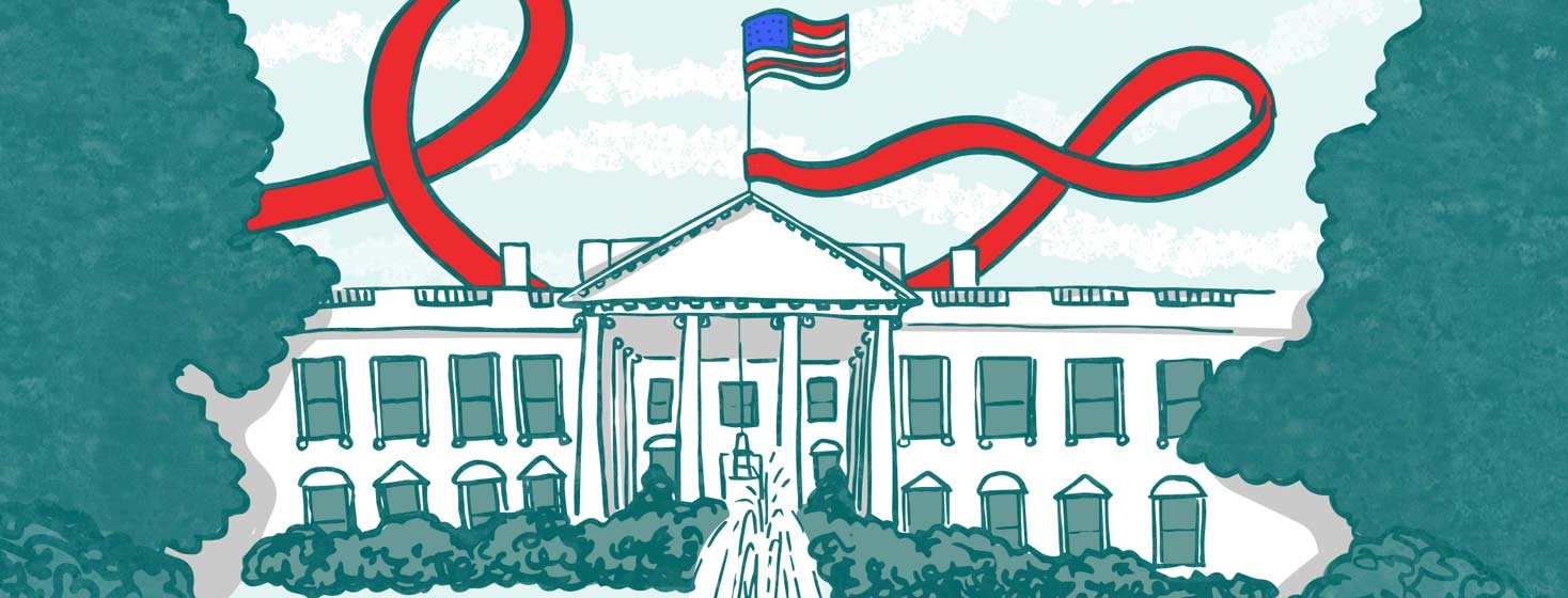 an image of the white house with an HIV awareness ribbon flowing from the flagpole under the american flag