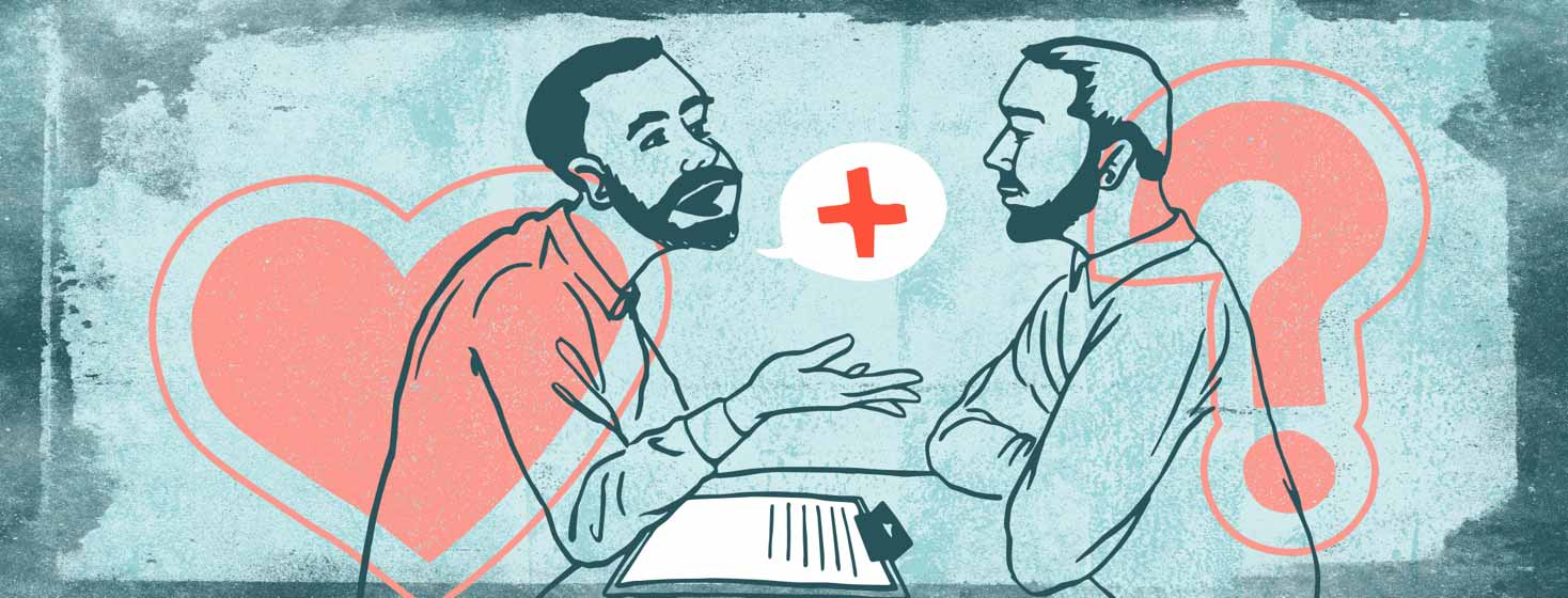 a man tells another man about his positive HIV diagnosis