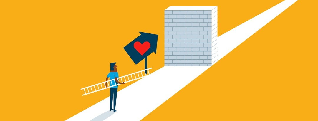 an illustration of HIV advocate Steven holding a ladder as he approaches a brick wall, a sign points to love on the other side