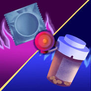 A versus screen with a condom on the left and prescription bottle full of pills on the right. There is fire in the background and a boxing ring bell in the middle.