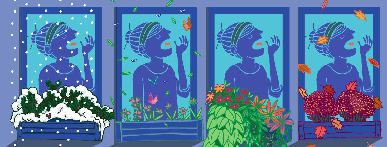 a woman shown four times through the window of her home taking her medication. Each windowbox shows the seasons and passing of time.