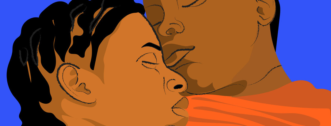 Faces of a black HIV positive couple snuggled up together, eyes closed