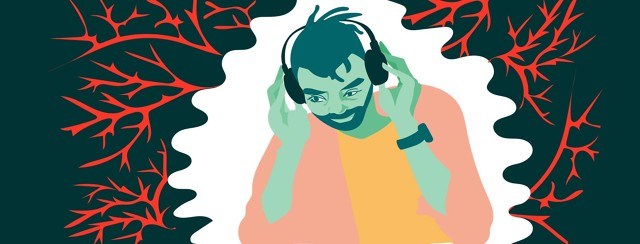 a man listens to music on headphones, pushing away red bursts of pain