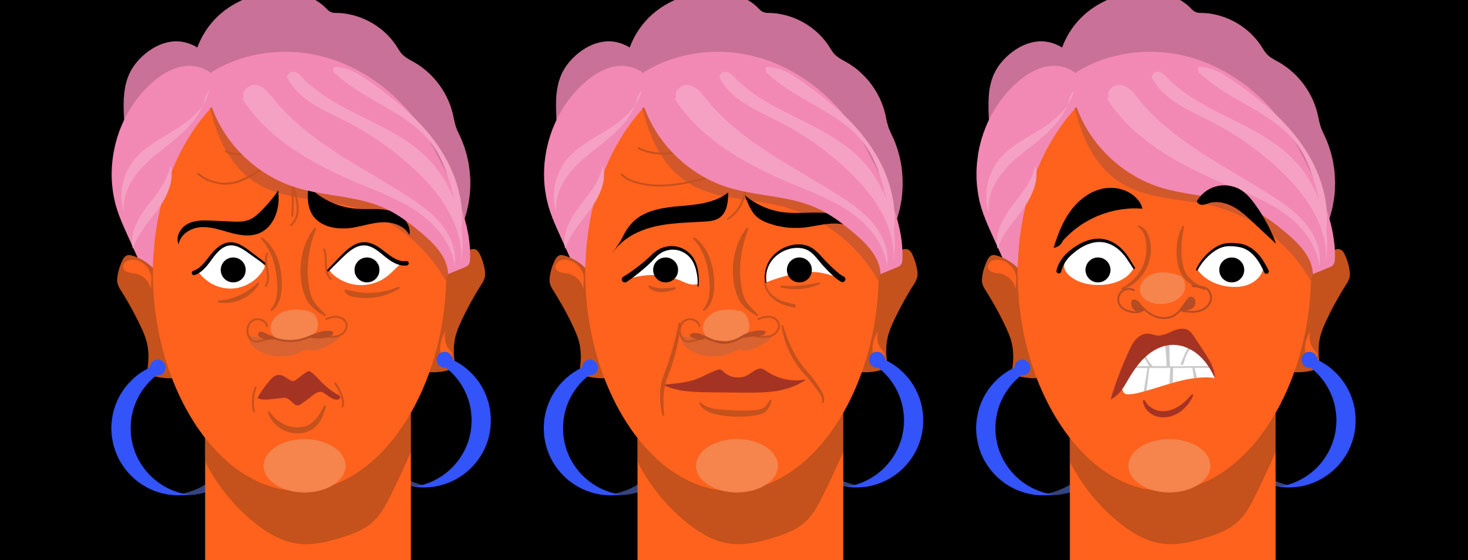 a woman showing paranoia, helplessness and guilt in her facial expressions