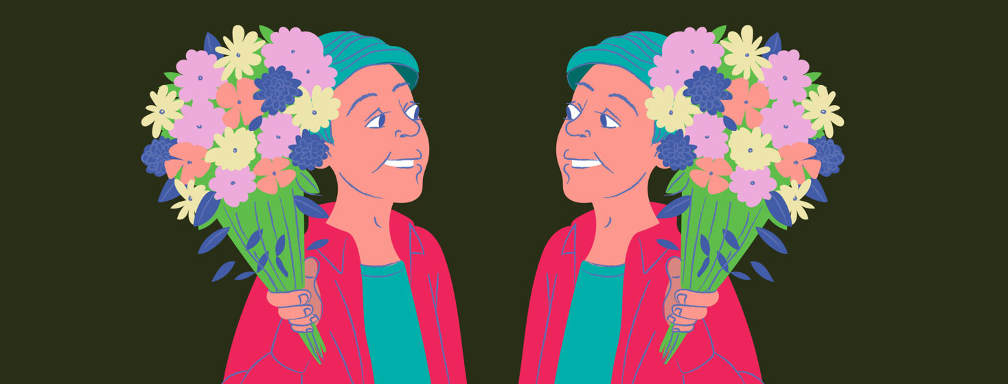 a person presenting flowers to a mirror image of themself