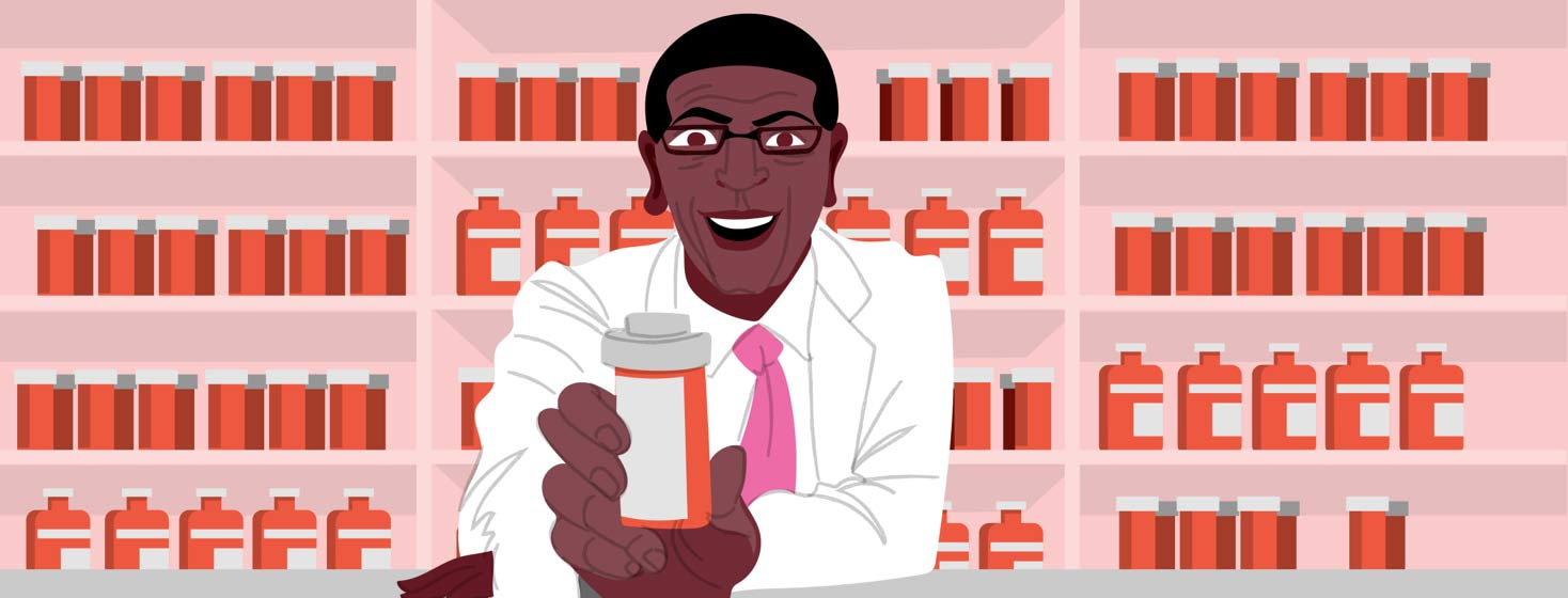 a smiling pharmacist offers medication