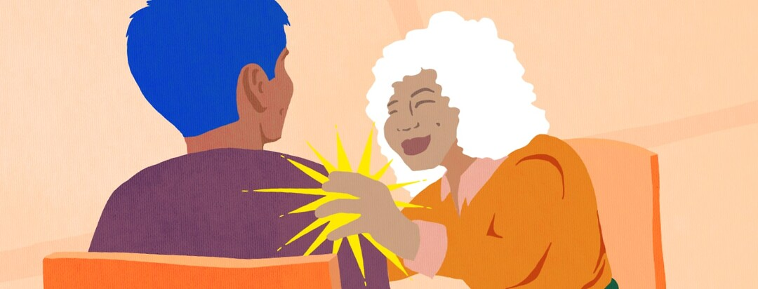 Woman patting another person on the shoulder with a sun burst coming out of her hand