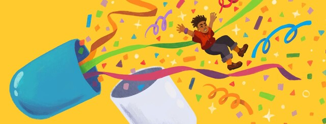 Adult jumping out of open pill filled with confetti