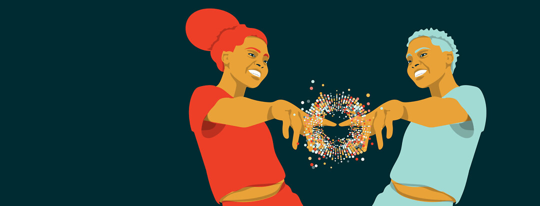 Two people smiling and pointing at each other with a burst of bubbles coming from their pointer fingers