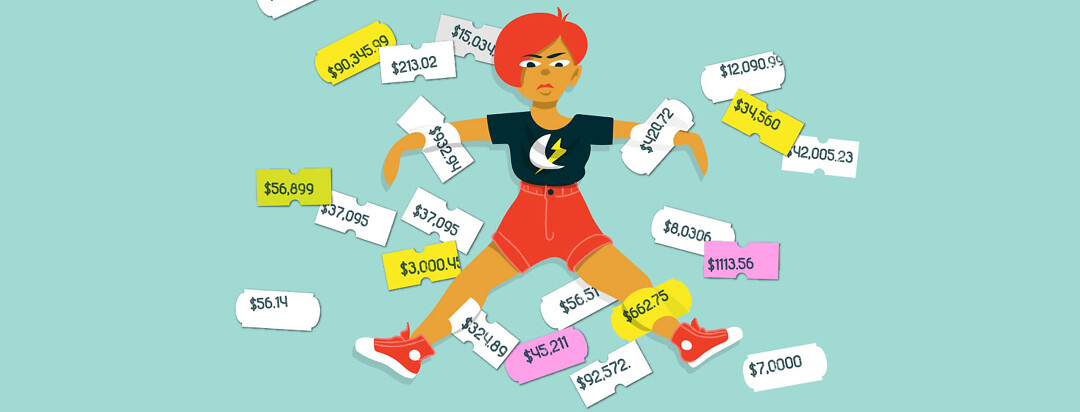 a disgruntled woman is stuck to a wall with price stickers that have very high dollar amounts