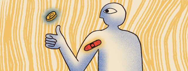 A person flips a coin with a band aid on their arm.