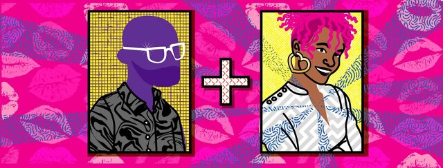 two dating profile images. The left one is a male in silhouette and the right one is a smiling woman with pink hair. Her heart radiates a blue swirly pattern. The background is a pattern of lipstick kiss marks