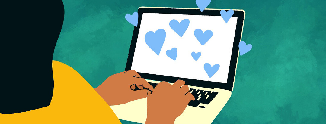 Adult female types at a computer while hearts appear on the screen