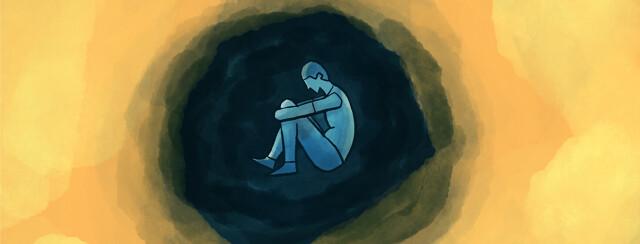 depressed person in dark cloud