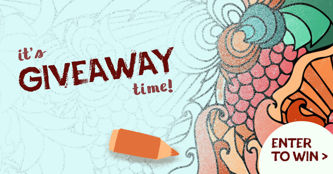 """A colored pencil colors in an abstract design with the text """"it's giveaway time"""""""