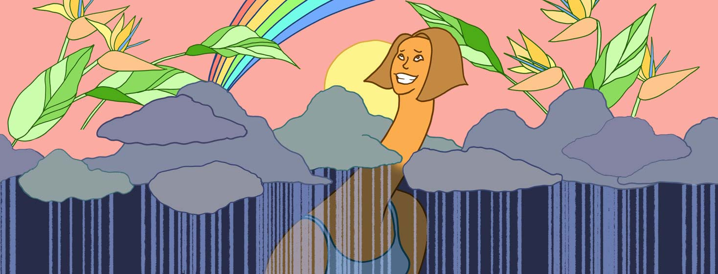 a woman pokes her long neck through the gloomy rainy clouds and she peeks above into the bright sunshine and rainbow with flowers.