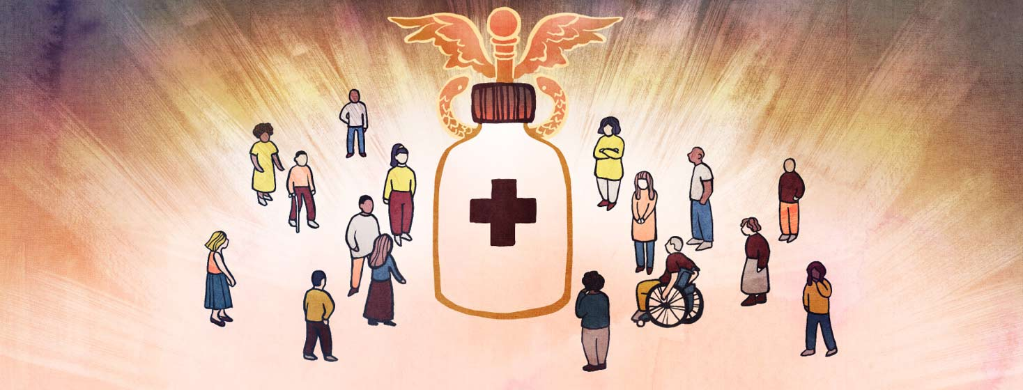 A diverse group of people surround a bottle of medicine