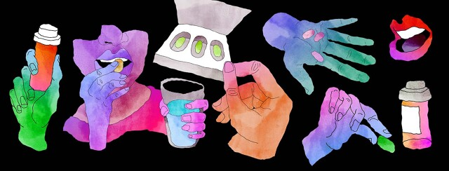 several water color hands and mouths are holding pills and taking pills