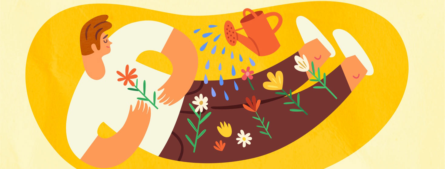 Man with flowers growing from his body receiving water from a watering can