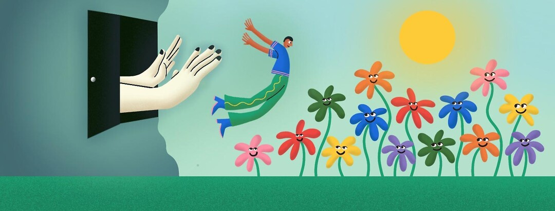 Man being pushed out of a dark doorway floating in the sky. He is proudly falling into a patch of happy rainbow flowers that are willing to embrace him.