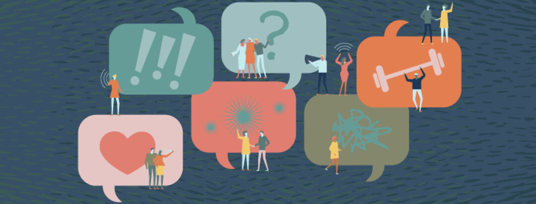 Speech bubbles people communicating talking about various things