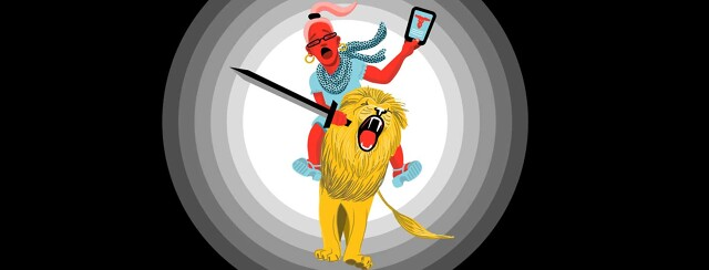 a woman riding a lion carries an ipad with health information and a sword