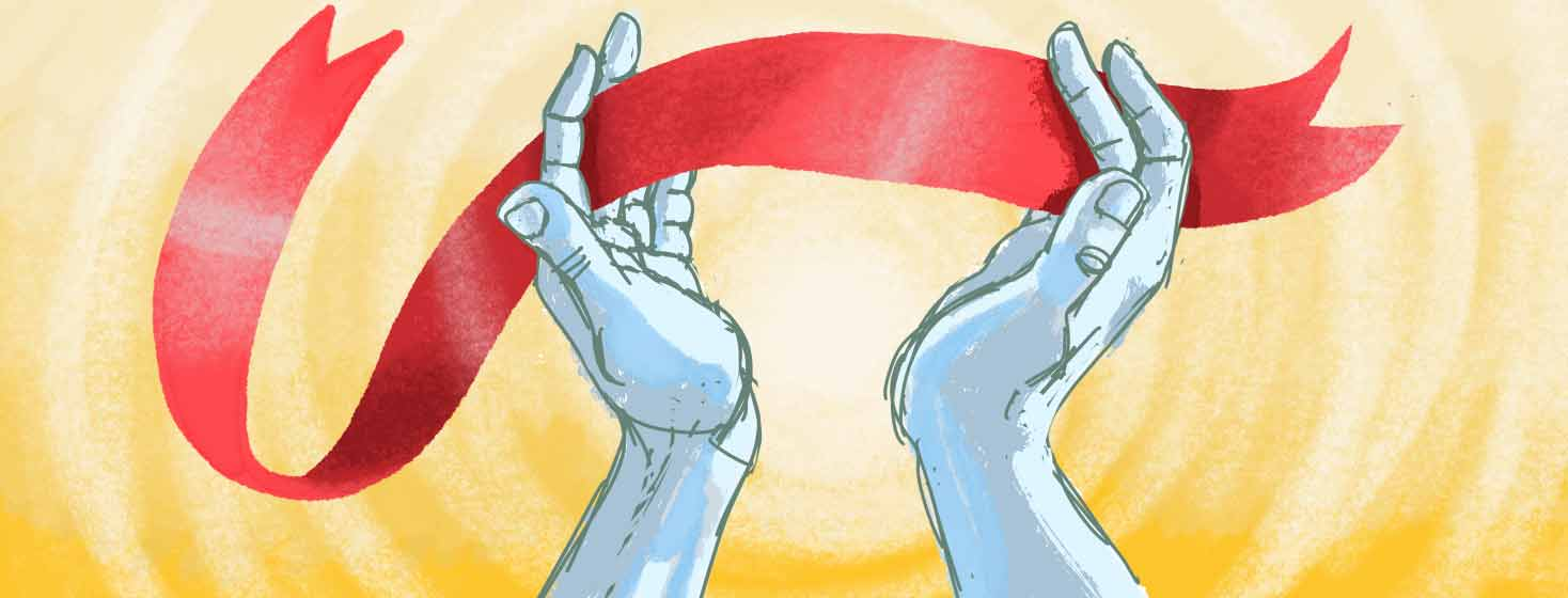 praying hands with a red ribbon interlaced in the fingers, a bright glow behind