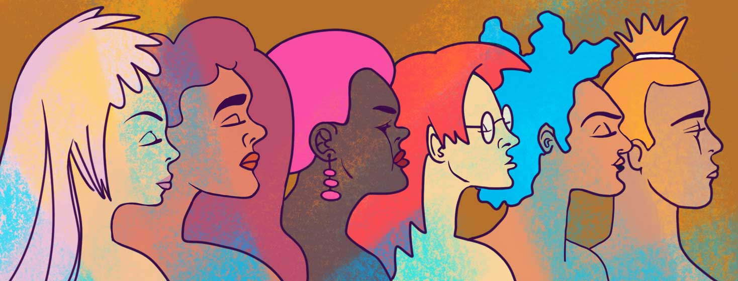 a wide range of women's profiles in a colorful rainbow of hair and skin colors
